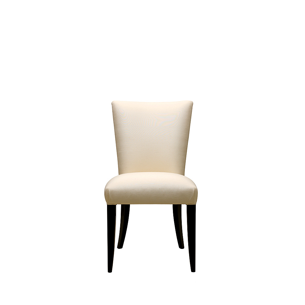 Masque de Femme contemporary chair | Numbered edition, clear crystal, black lacquered and ivory silk, chair without arms | Chair Lalique