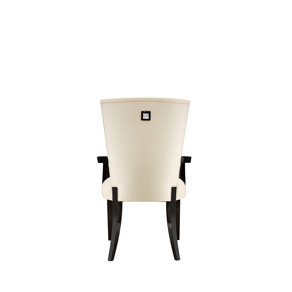 Masque de Femme contemporary chair | Numbered edition, clear crystal, black lacquered and ivory silk, chair with arms | Chair Lalique