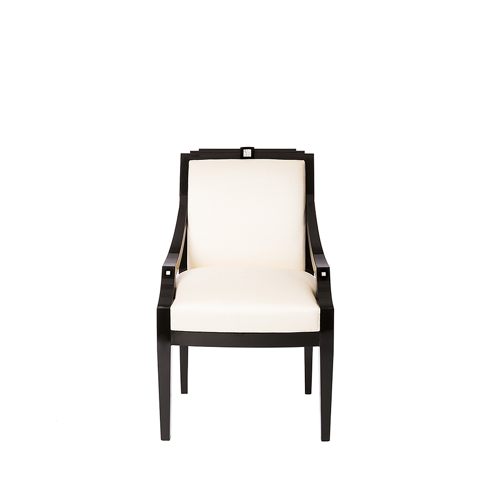 Masque de Femme classic chair | Numbered edition, clear crystal, black lacquered and ivory silk, chair with arms | Chair Lalique