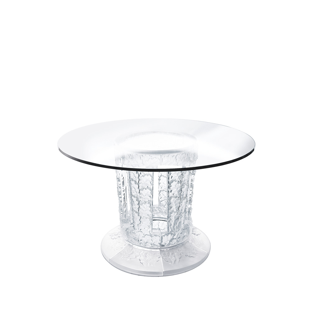 Chêne table | Round table, clear crystal | Interior Design Lalique