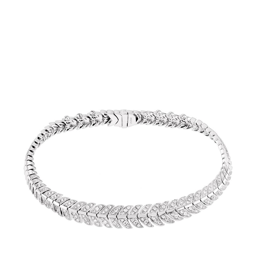Éros bracelet | Diamonds, white gold | Fine jewellery Lalique