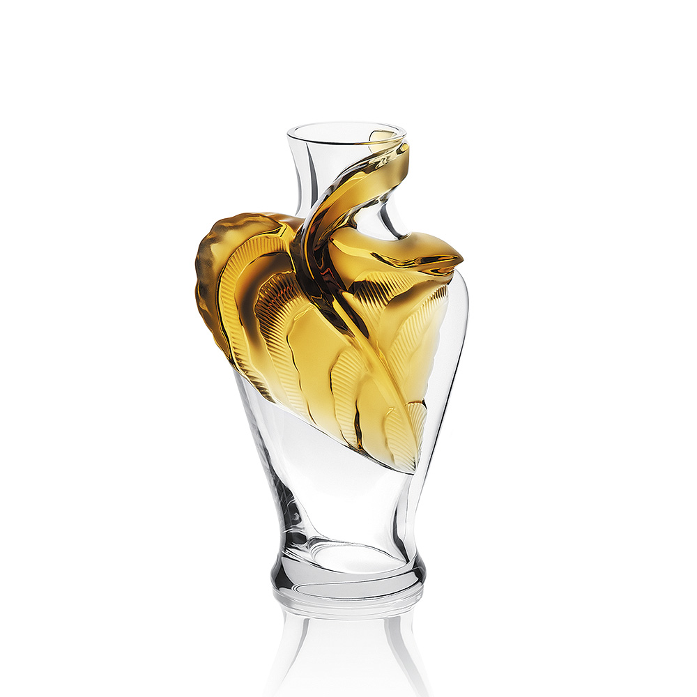 Tanega vase | Limited edition (488 pieces), clear and amber crystal | Vase Lalique