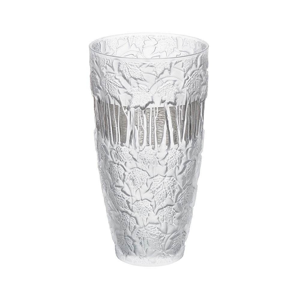 Paysage d'Hiver vase | Limited edition (99 pieces), clear crystal, platinum enamelled | Vase Lalique