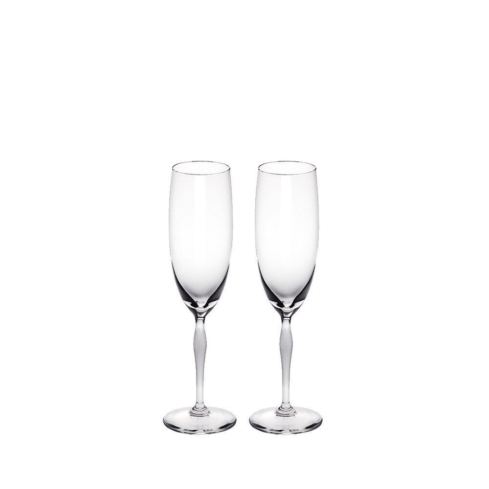 Set of 2 Champagne glasses 100 POINTS | 100 POINTS by James Suckling, clear crystal | Glass Lalique