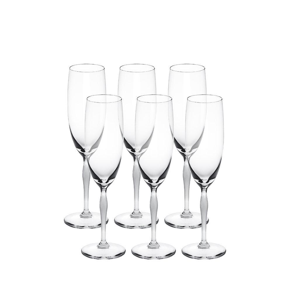 Set of 6 Champagne glasses 100 POINTS   100 POINTS by James Suckling, clear crystal   Glass Lalique