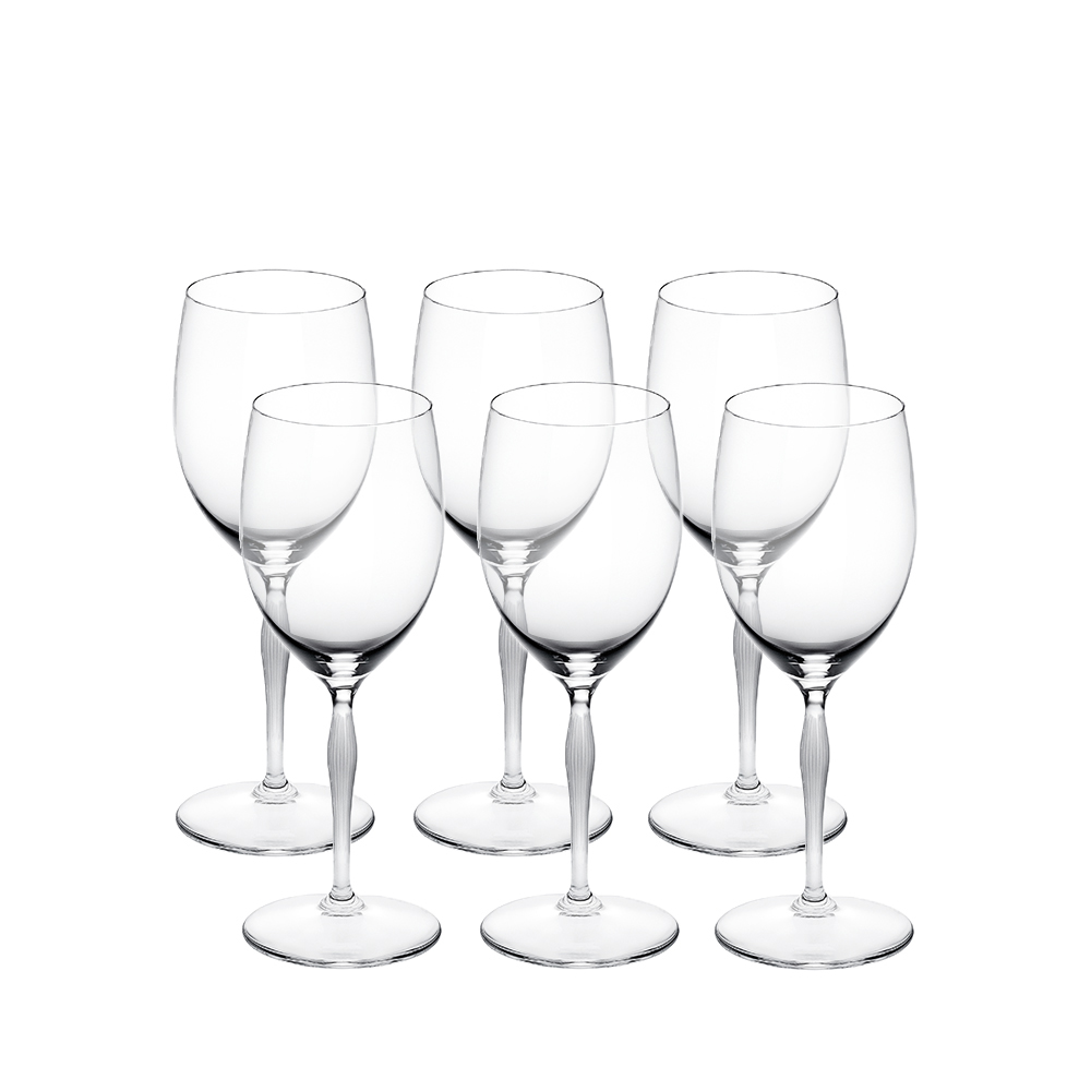 Set of 6 water glasses 100 POINTS | 100 POINTS by James Suckling, clear crystal | Glass Lalique