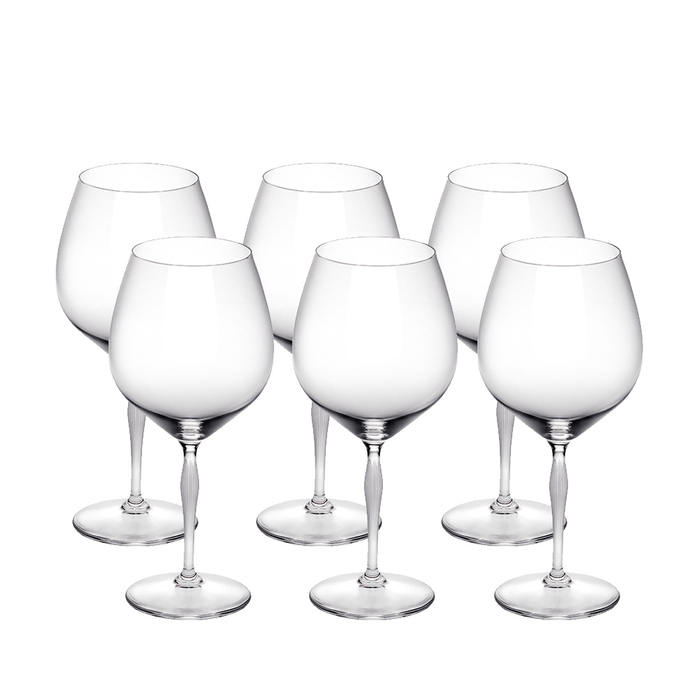 Set of 6 Burgundy glasses 100 POINTS | 100 POINTS by James Suckling, clear crystal | Glass Lalique