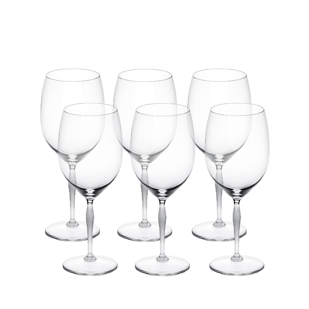 Set of 6 Bordeaux glasses 100 POINTS | 100 POINTS by James Suckling, clear crystal | Glass Lalique