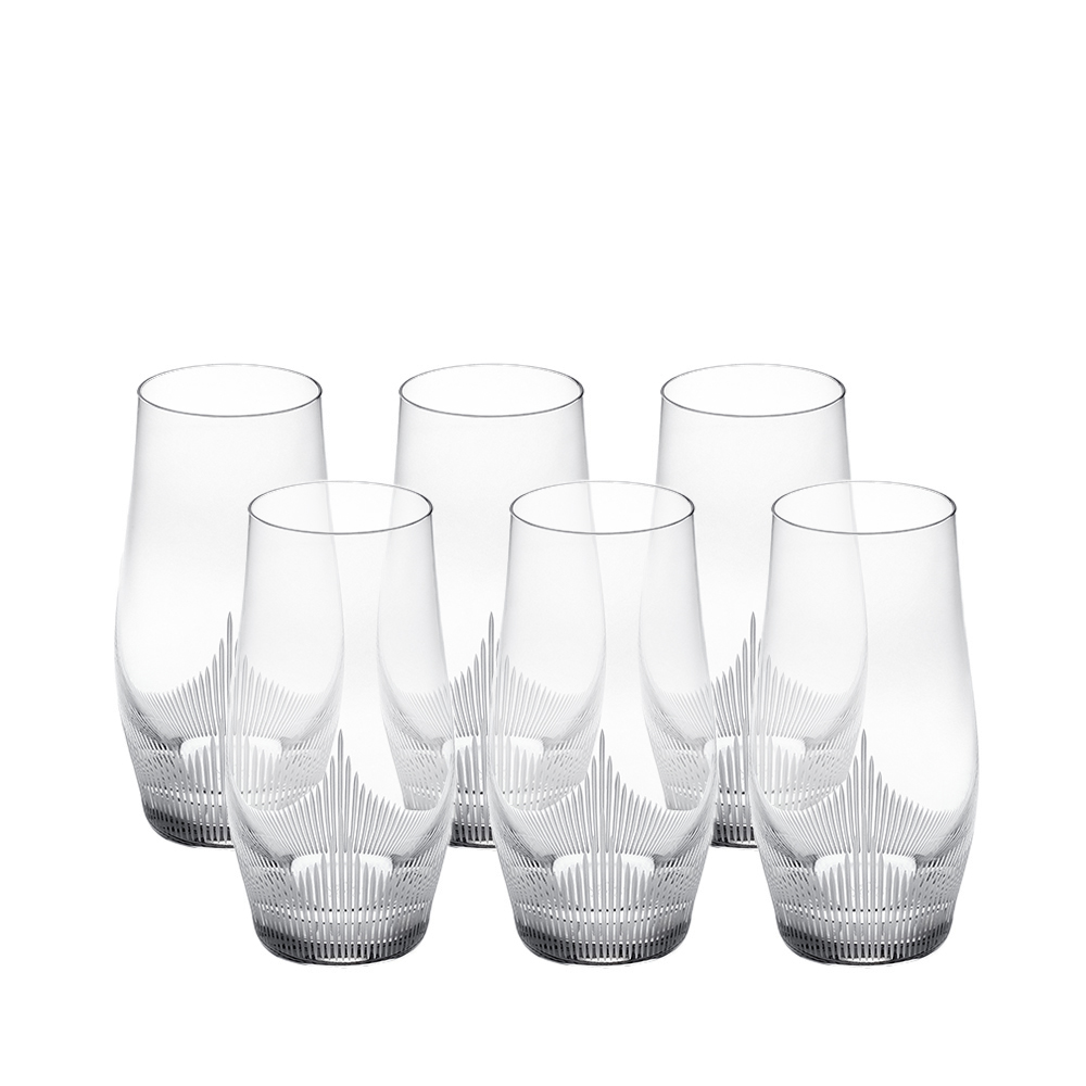 Set of 6 highball glasses 100 POINTS | 100 POINTS by James Suckling, clear crystal | Glass Lalique
