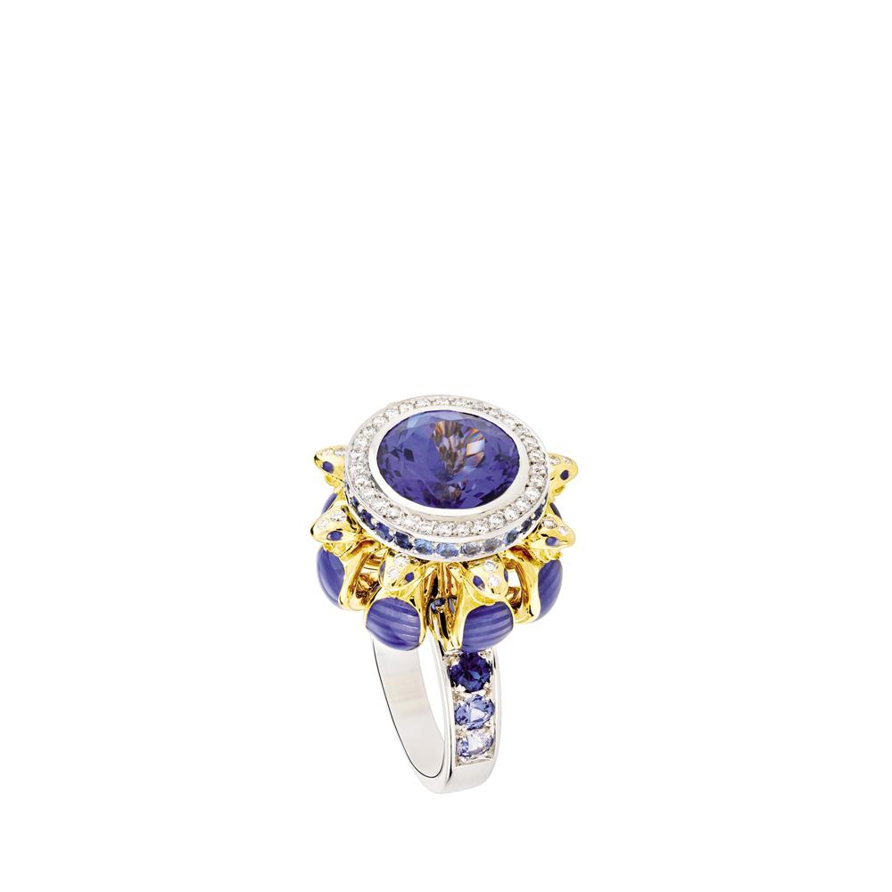 Serpent ring | Tanzanite, sapphires and diamonds, white gold | Fine jewellery Lalique