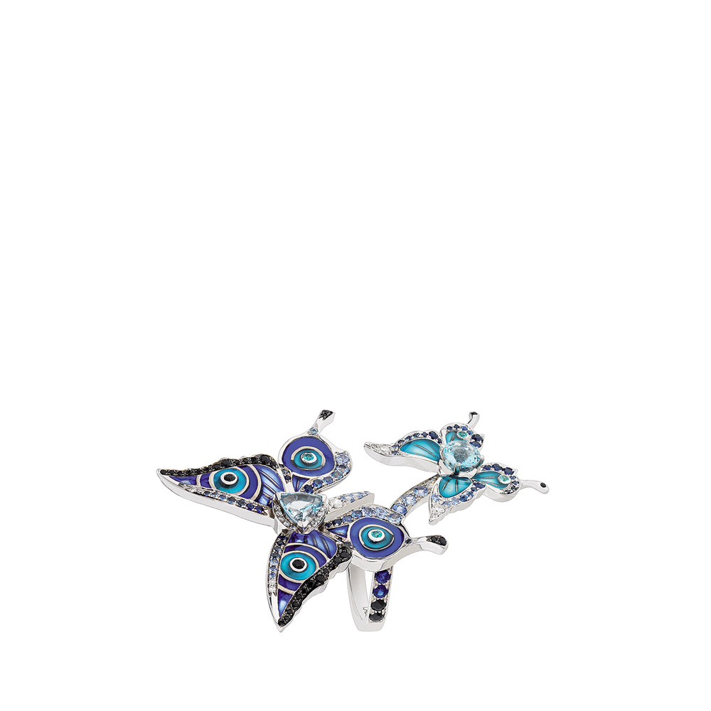 Psyche ring   Sapphires, diamonds and aquamarines, white gold   Fine jewellery Lalique