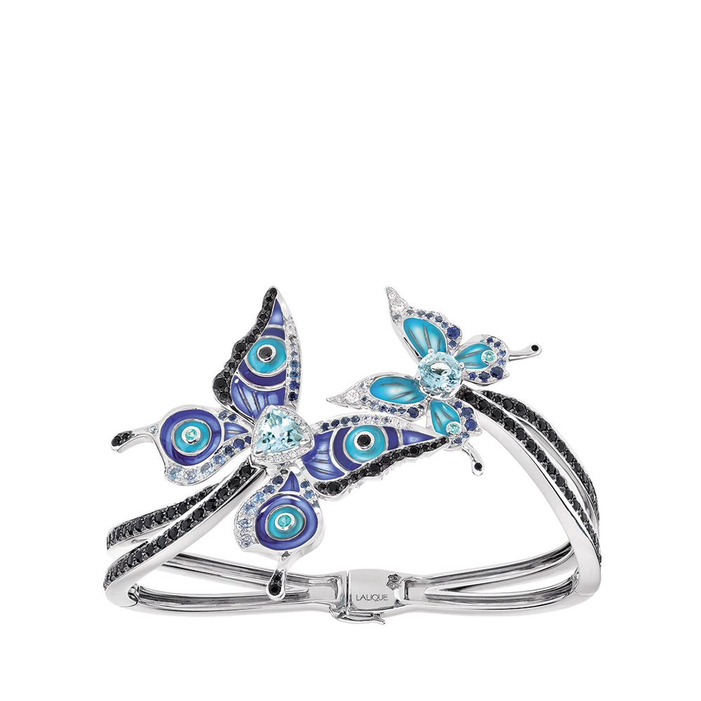 Psyche bracelet   Sapphires, diamonds and aquamarines, white gold   Fine jewellery Lalique