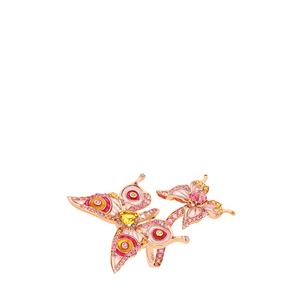 Psyche ring | Sapphires, diamonds and pink tourmaline, red gold | Fine jewellery Lalique