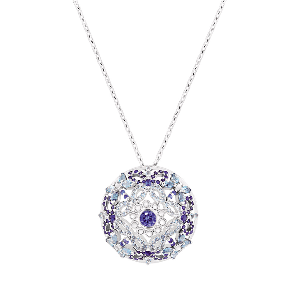 Ailes de Psyché pendant | Sapphires, aquamarines, diamonds, mother of pearls, white gold | Fine jewellery Lalique