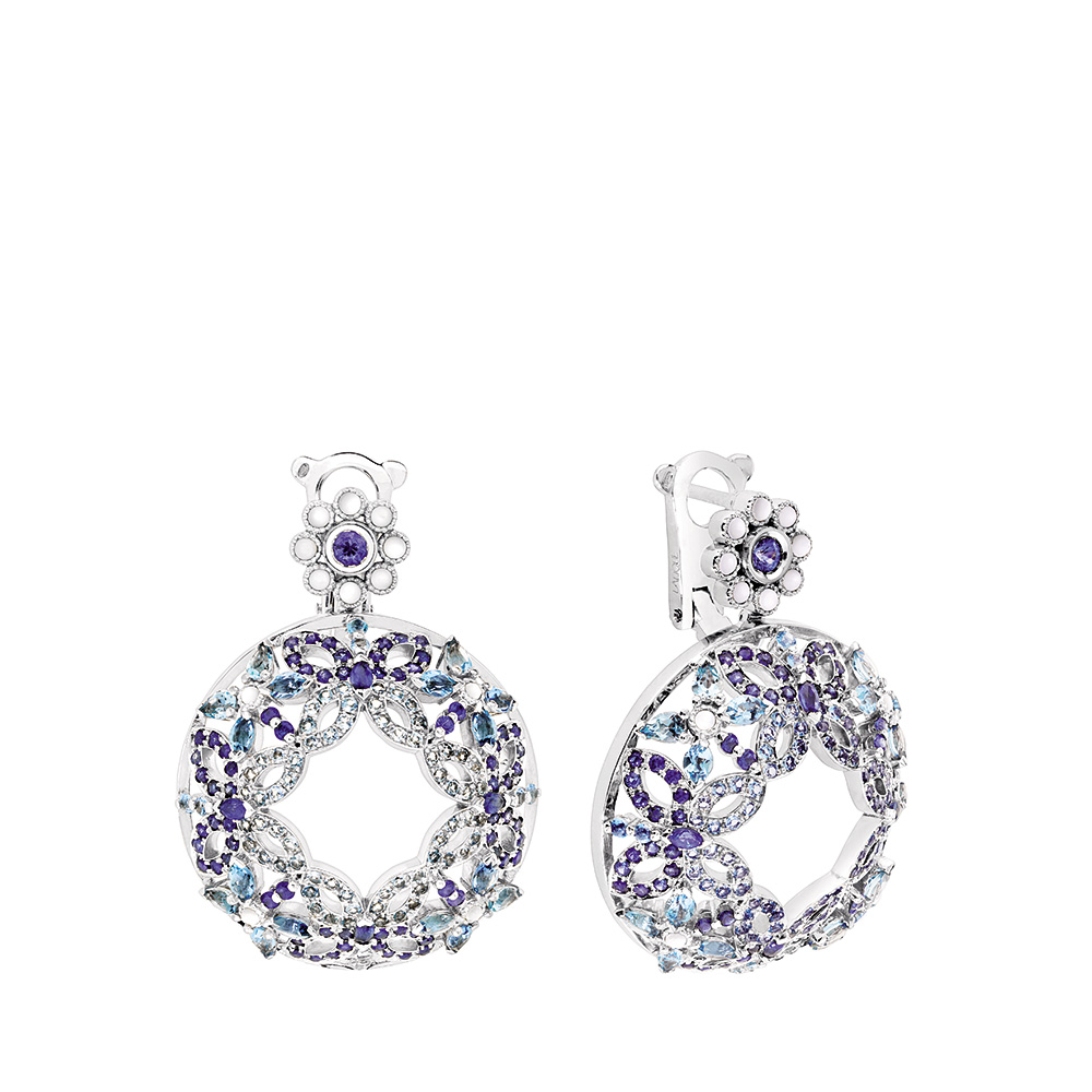 Ailes de Psyché earrings | Sapphires, aquamarines, diamonds, mother of pearls, white gold | Fine jewellery Lalique