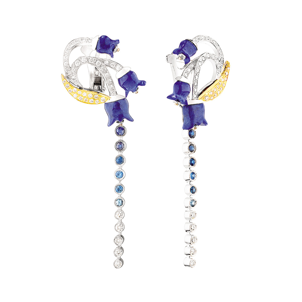 Muguet earrings | Lapis lazuli, sapphires and diamonds, white gold | Fine jewellery Lalique