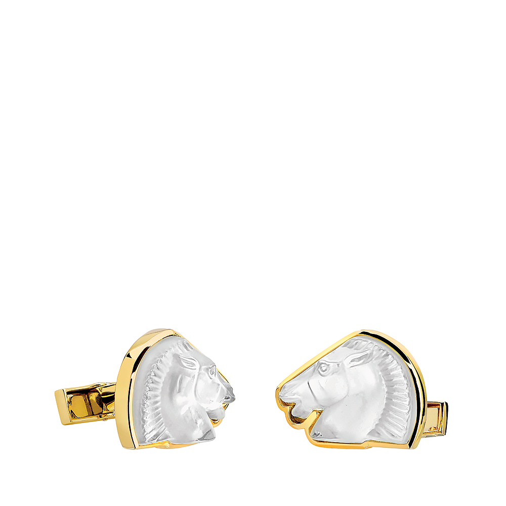 Cheval mascottes cufflinks | Clear crystal, yellow gold | Lalique fine jewellery