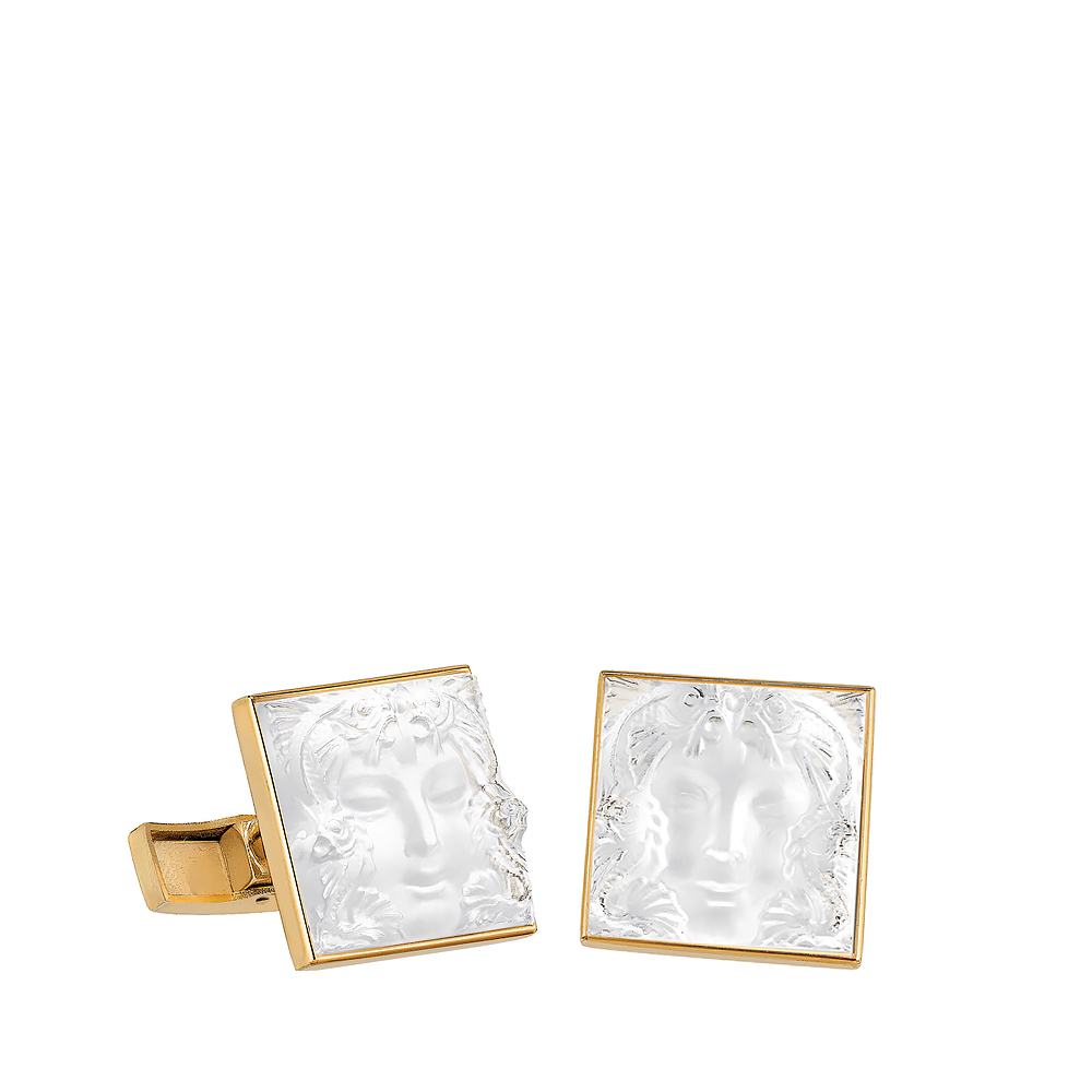 Aréthuse cufflinks | Clear crystal, yellow gold | Lalique fine jewellery
