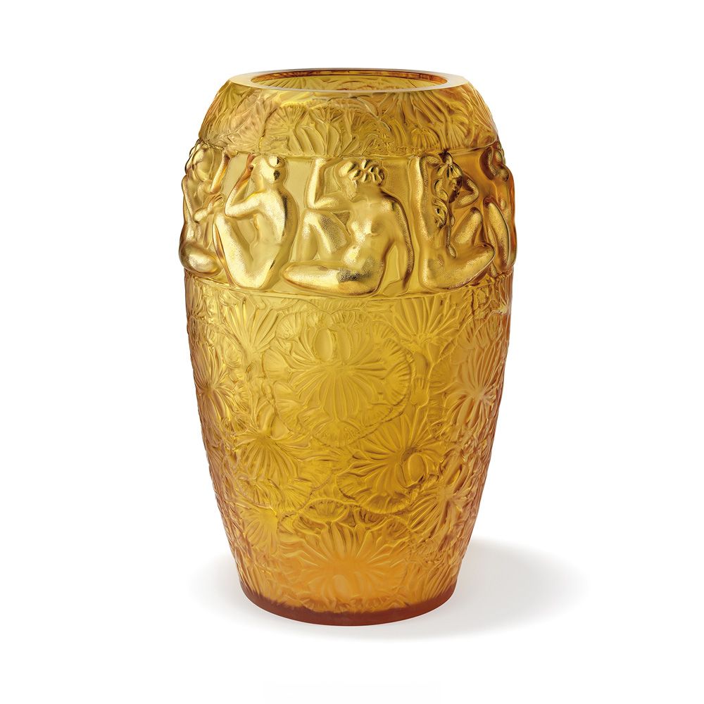 Angélique vase | Limited edition (99 pieces), amber crystal gold enamelled | Vase Lalique