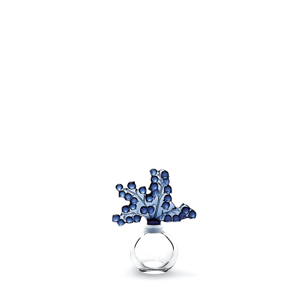 Clairefontaine perfume bottle | Clear and blue night crystal | Perfume bottle Lalique