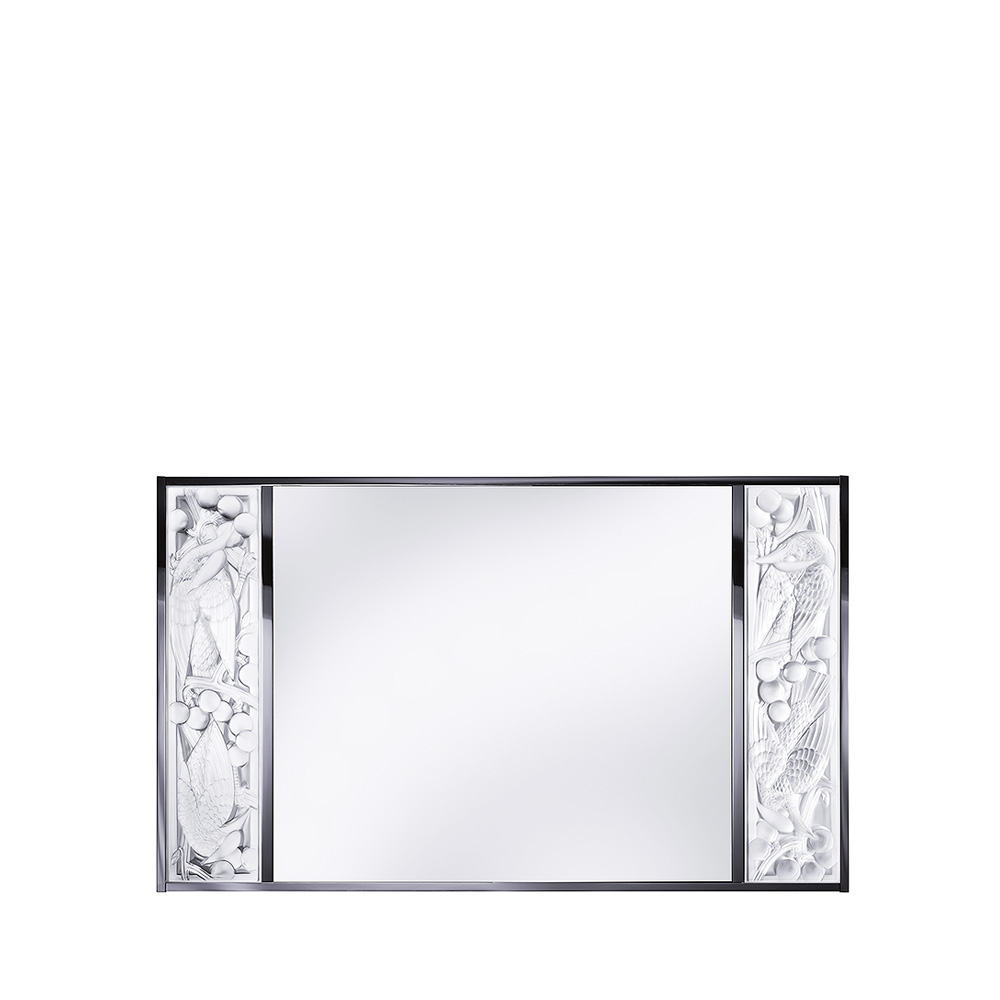 Merles et Raisins mirror | Clear crystal, chrome finish | Interior Design Lalique