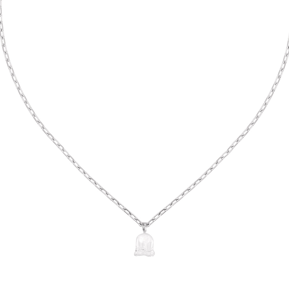 Muguet necklace | 1 clear crystal, silver | Costume jewellery Lalique