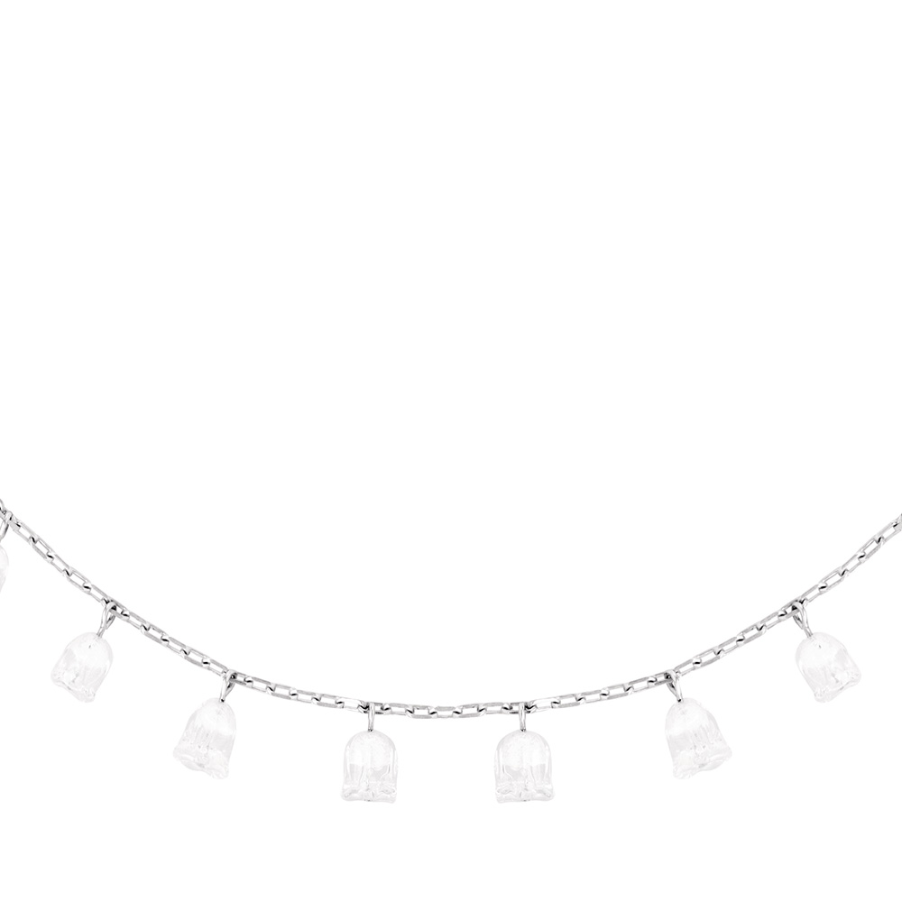 Muguet necklace | 12 clear crystals, silver | Costume jewellery Lalique