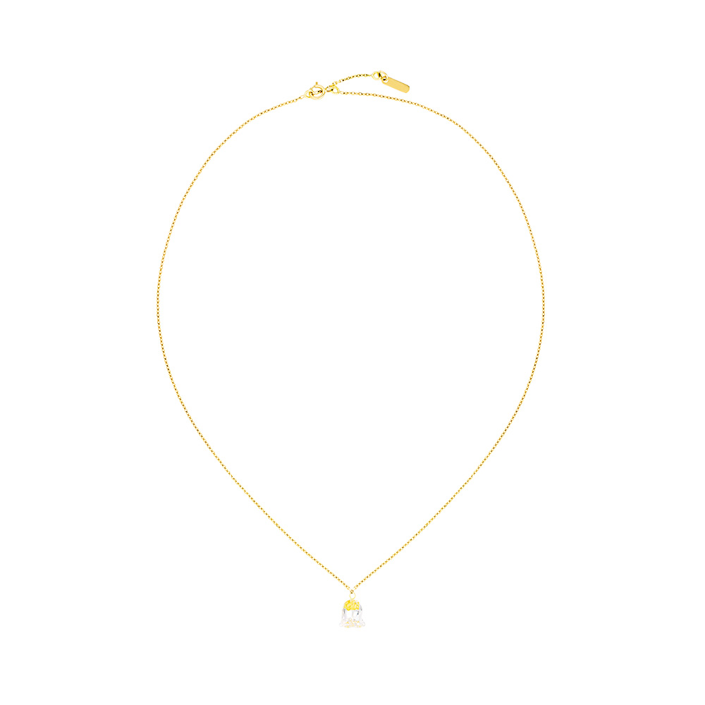 Muguet necklace   Clear crystal with golden glass powder, yellow gold   Fine jewellery Lalique