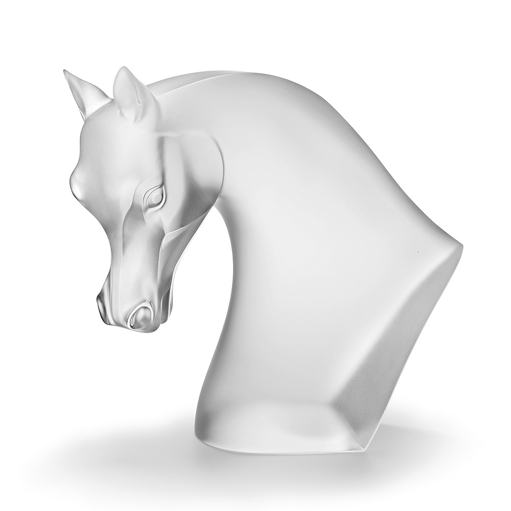 Horse's Head sculpture | Satin clear crystal | Sculpture Lalique