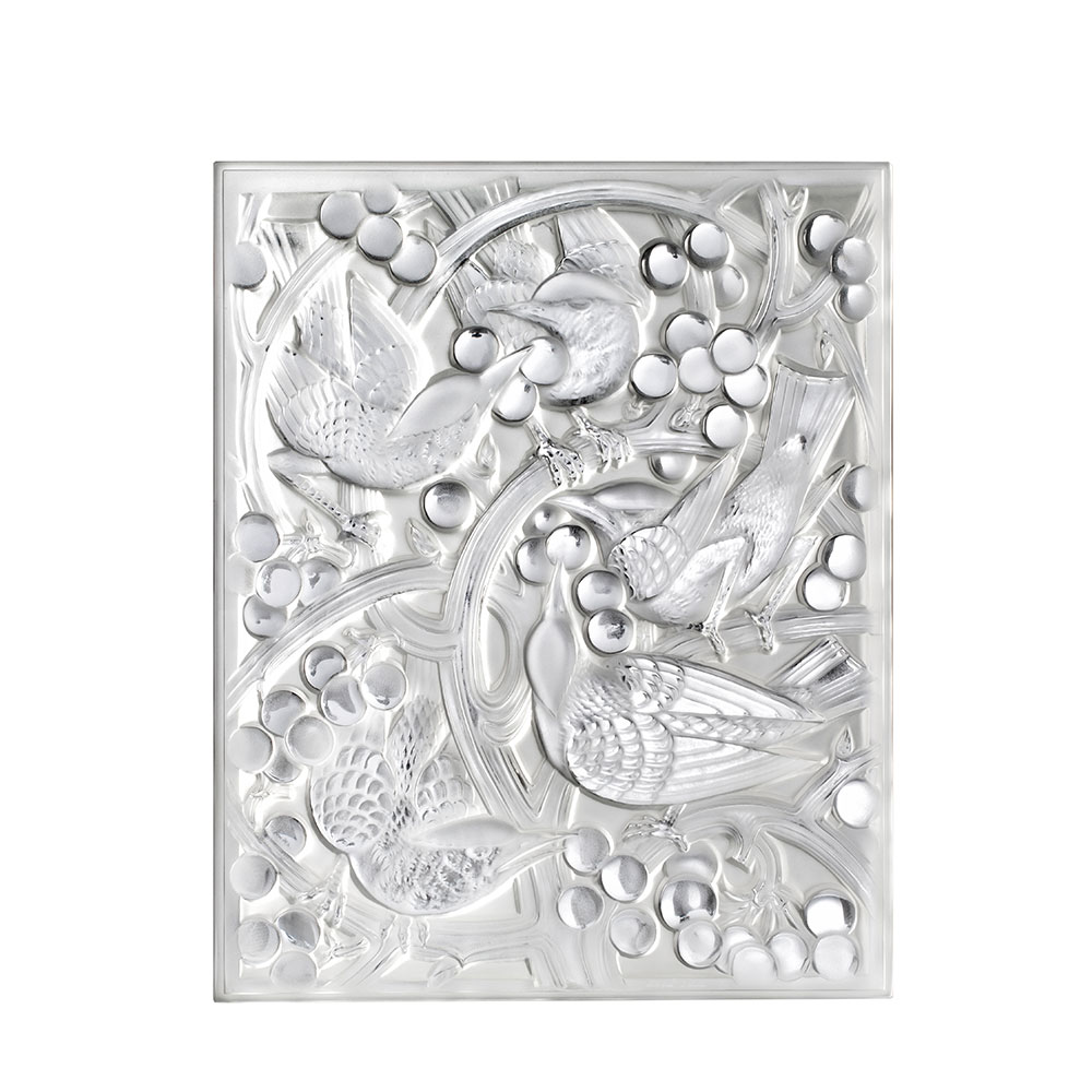 Merles et Raisins Head Up decorative panel | Clear crystal | Interior Design Lalique