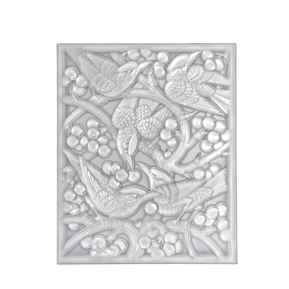 Merles et Raisins Head Down decorative panel | Clear crystal | Interior Design Lalique