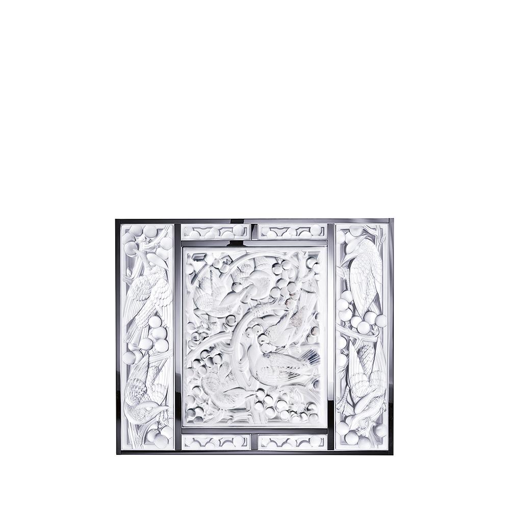 Merles et Raisins Head Up arrangement   Clear crystal, chrome, mirrored   Interior Design Lalique