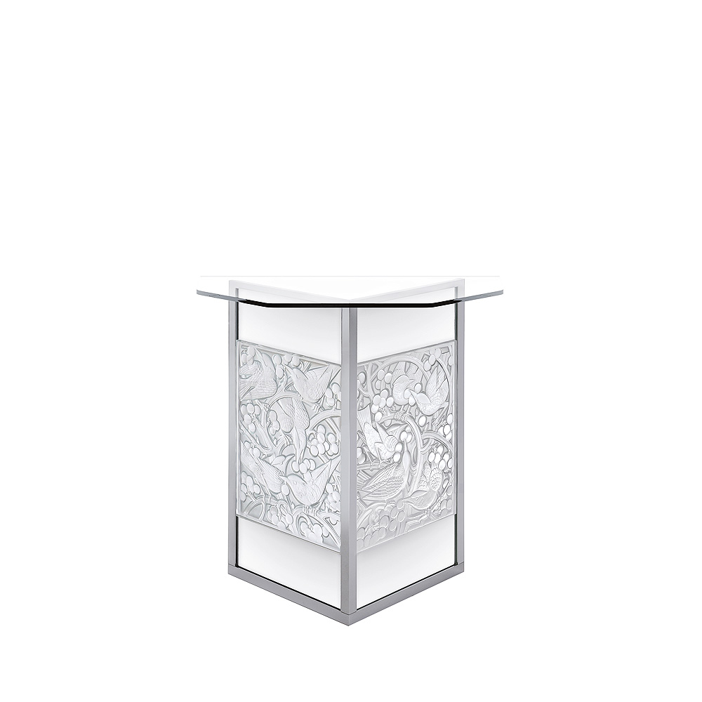 Merles et Raisins aviary trestle | Clear crystal, brushed finish | Interior Design Lalique
