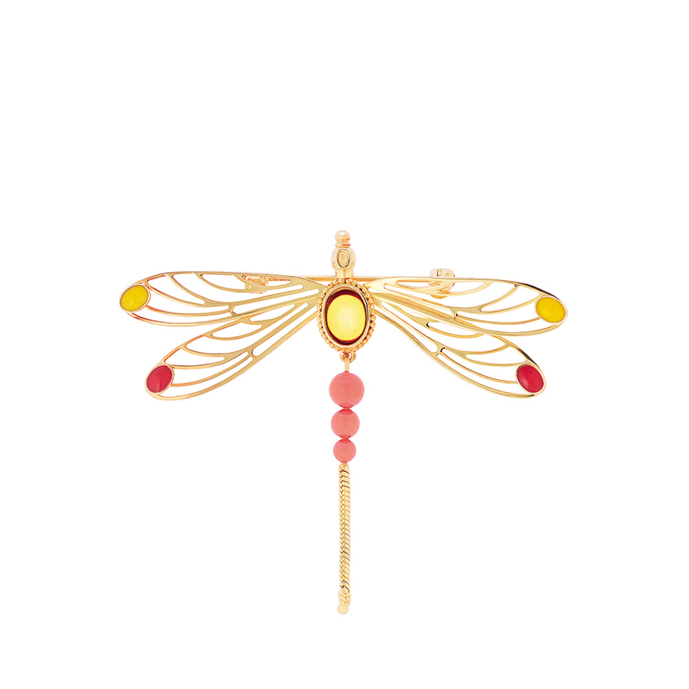 Libellule brooch | Amber crystal cabochon, vermeil | Costume jewellery Lalique