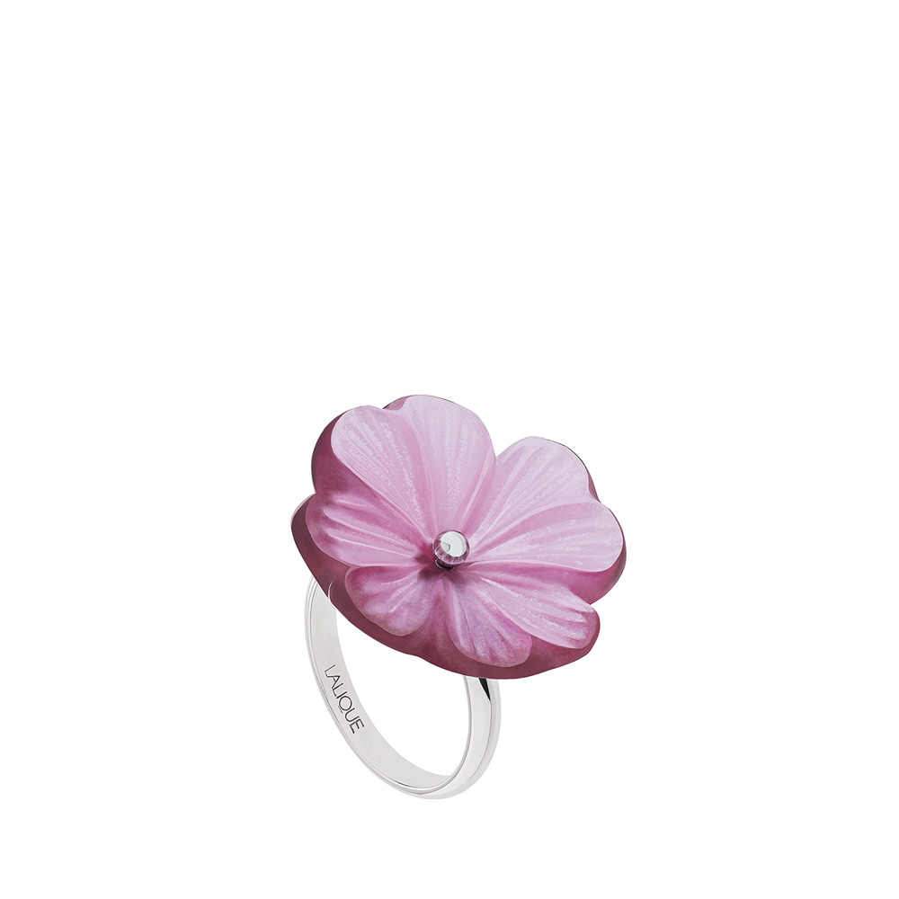 Pensée ring | Fuchsia crystal, silver | Costume jewellery Lalique