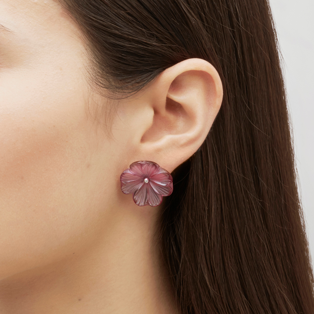 Pensée earrings | Fuchsia crystal, silver, pin clasp system | Costume jewellery Lalique