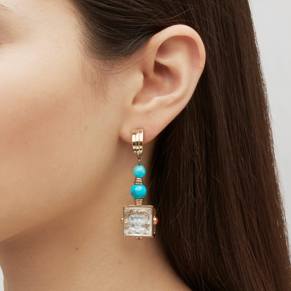 Aréthuse earrings | Clear crystal, vermeil, pin clasp system | Costume jewellery Lalique