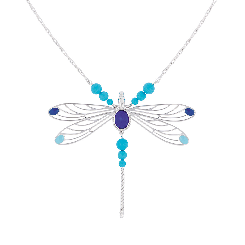 Libellule necklace | Sapphire blue crystal, silver | Costume jewellery Lalique