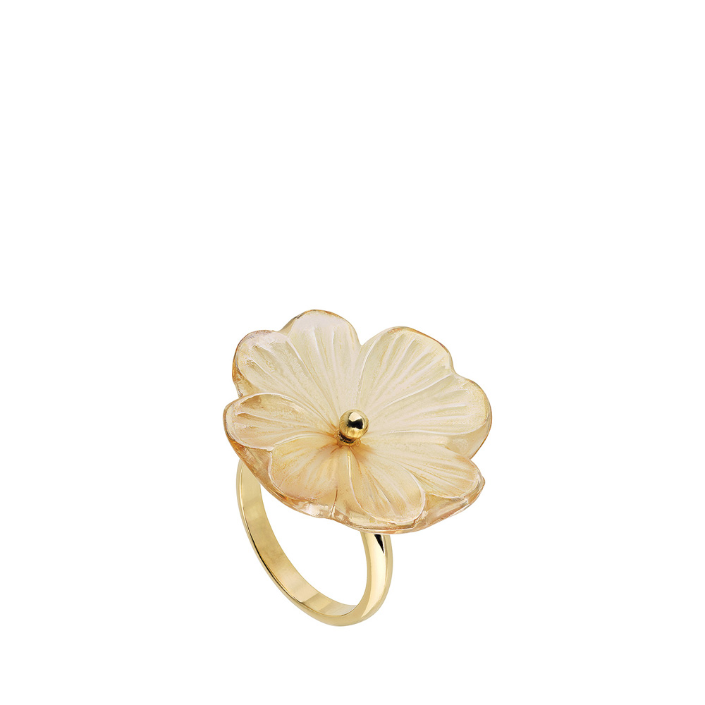Pensée ring   Clear crystal golden luster, vermeil   Costume jewellery Lalique