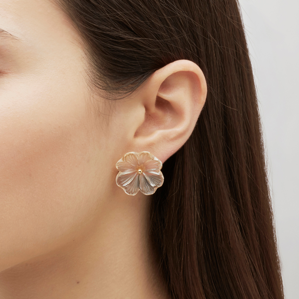 Pensée earrings | Clear crystal golden luster, vermeil, pin clasp system | Costume jewellery Lalique