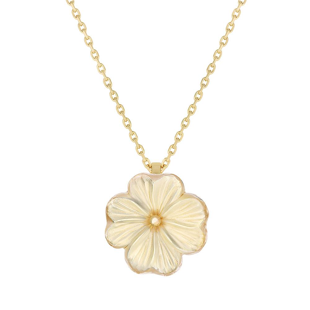 Pensée pendant   Clear crystal golden luster, vermeil   Costume jewellery Lalique