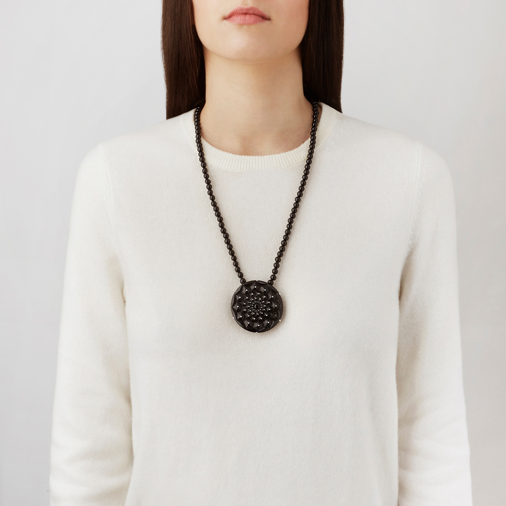 Cactus necklace | Black crystal, silver | Costume jewellery Lalique