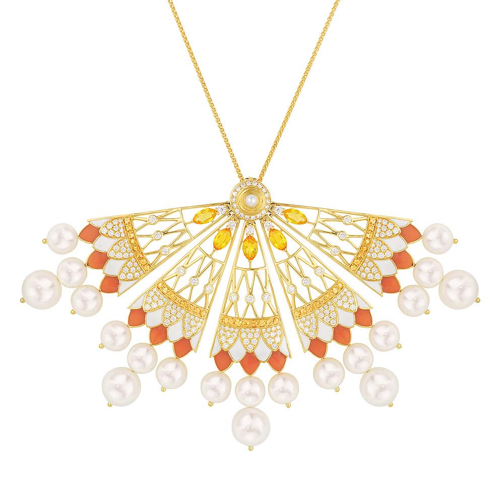 Soleil de Gaïa necklace | Diamonds, sapphires, fresh water cultured pearls, yellow gold | Fine jewellery Lalique