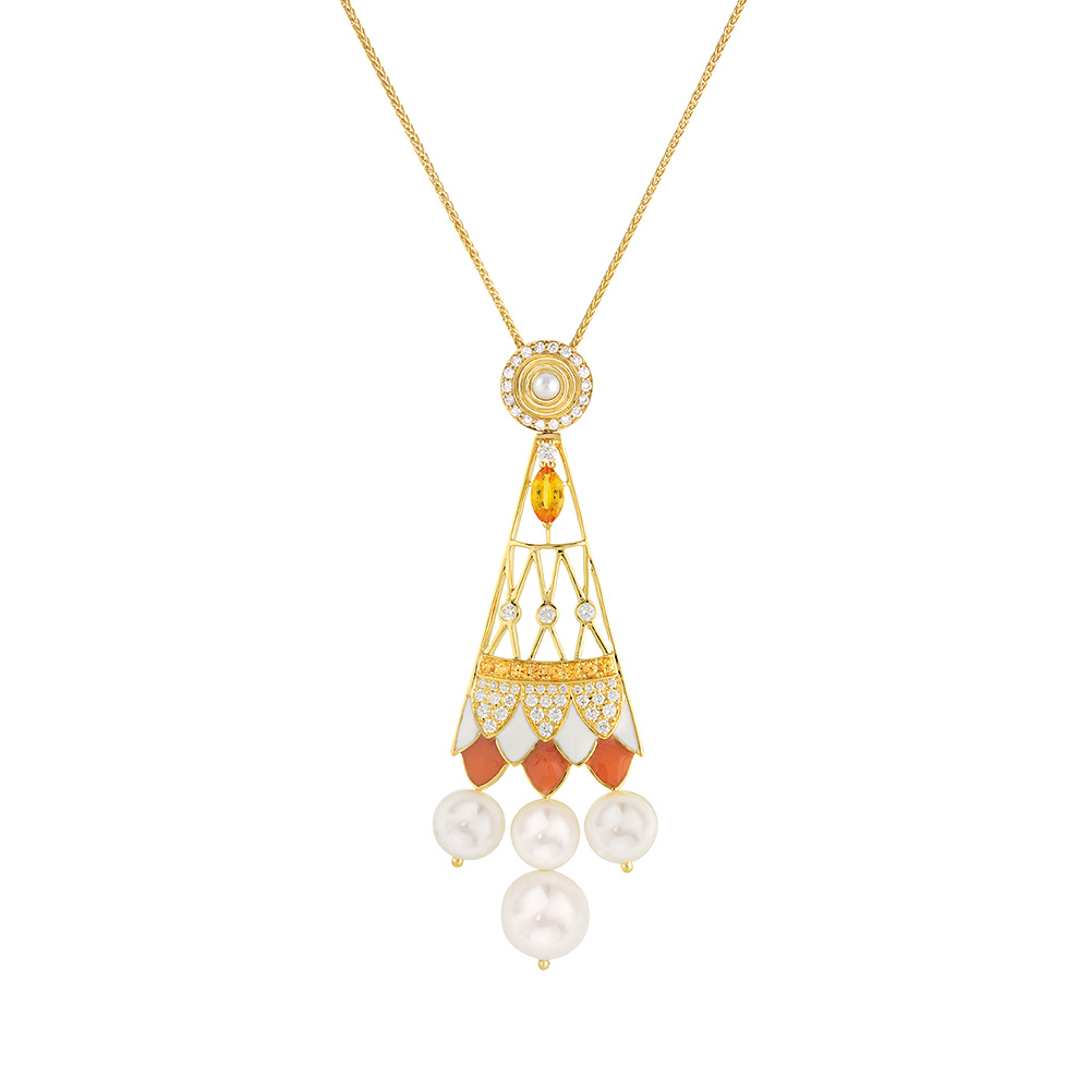 Soleil de Gaïa pendant   Diamonds, sapphires, fresh water cultured pearls, yellow gold   Fine jewellery Lalique