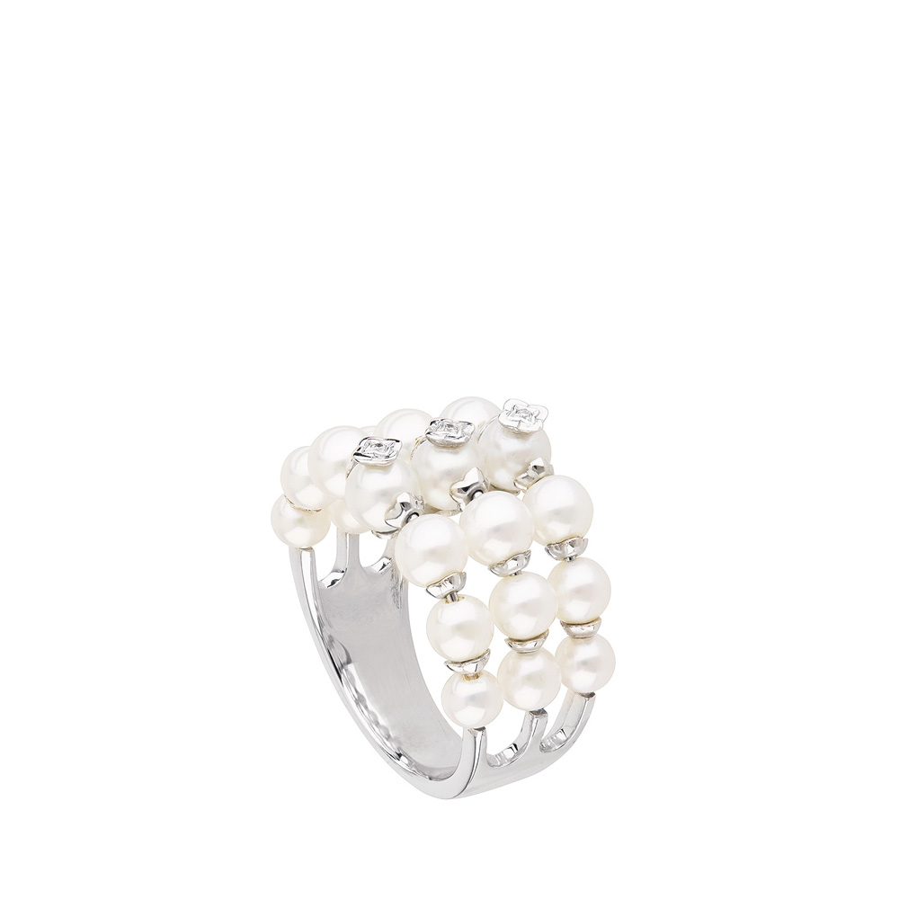 Muguet ring | Fresh water cultured pearls: strings and diamonds, white gold | Fine jewellery Lalique