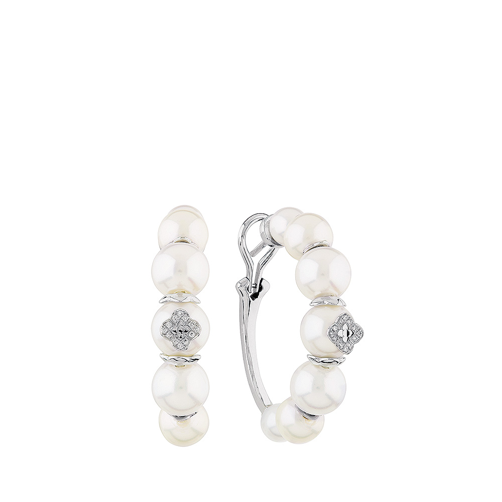 Muguet Loop earrings | Fresh water cultured pearls and diamonds, white gold | Fine jewellery Lalique