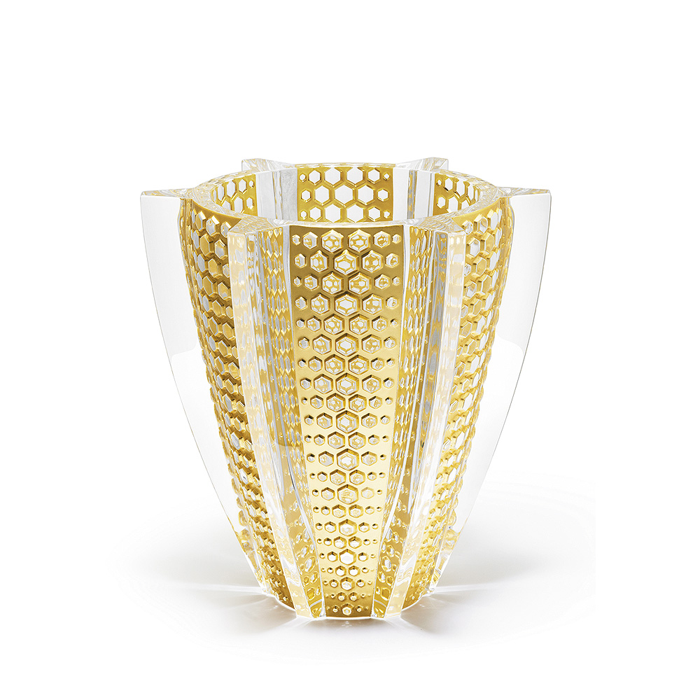 Rayons vase | Limited edition (88 pieces), clear crystal with gold leaf | Vase Lalique