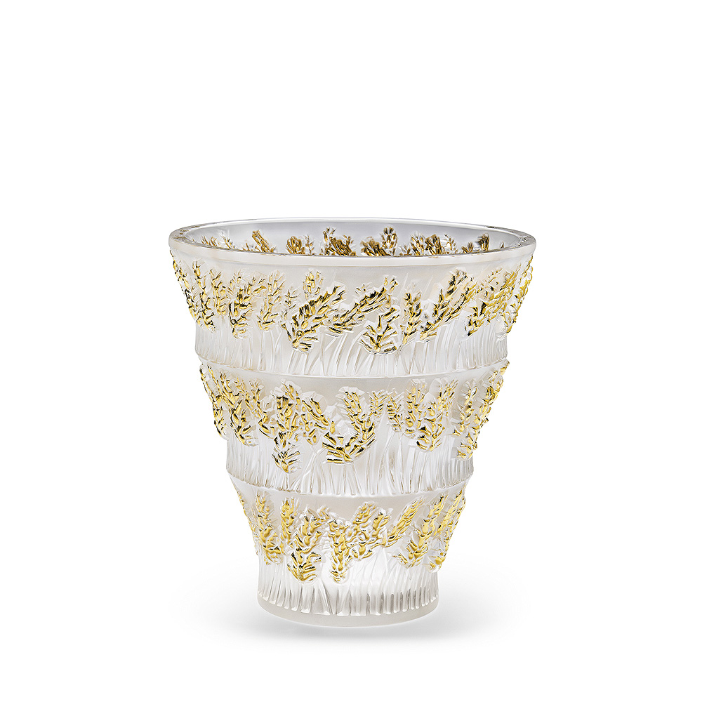 Provence vase | Clear crystal, gold stamped | Vase Lalique