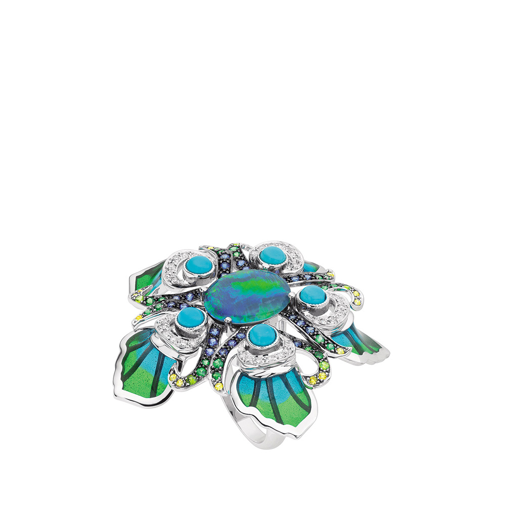 Paon ring | Opal triplet, sapphires, diamonds, turquoises, white gold | Fine jewellery Lalique