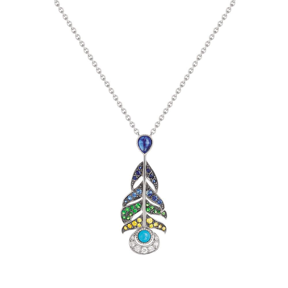 Paon pendant | Turquoises, diamonds, sapphires, white gold | Fine jewellery Lalique